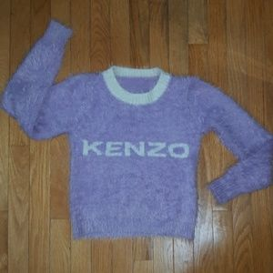 KENZO Logo Fuzzy Cropped Sweater Purple/White XS